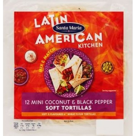 SANTA MARIA 12 MINI TORTILLAS DA 15,4Cm COCONUT & BLACK PEPPER CUCINA TEX MEX