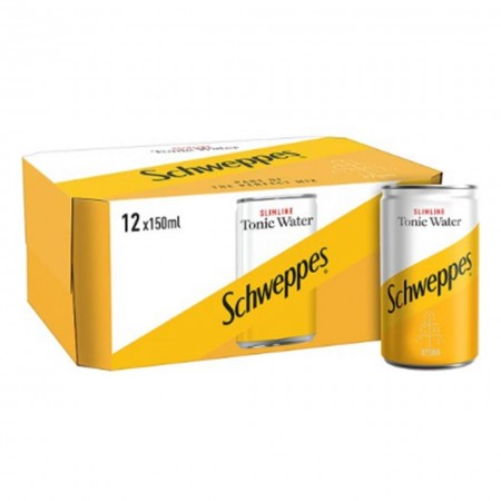 12 X MINI LATTINE DA 150 ML SCHWEPPES WATER TONIC ACQUA TONICA SPECIALITA' MONDO