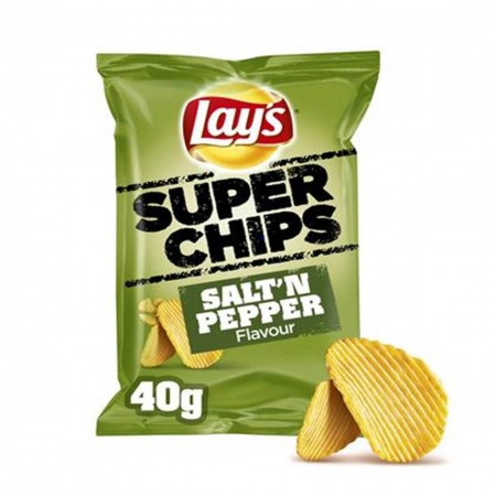 LAYS SUPER CHIPS SALT E PEPPER 20 x 40g