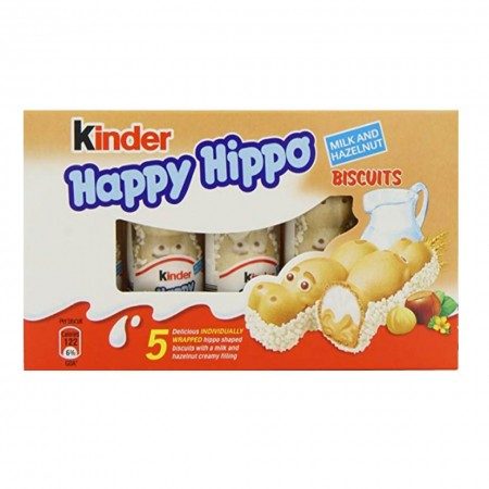 KINDER HAPPY HIPPO BOX DA 5pz HAZELNUT NOCCIOLA SNACK BISCOTTO FERRERO