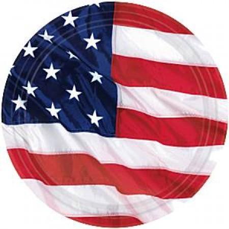 8 PIATTI FLAG AMERICA 26,6 Cm DI CARTONE MOLTO RESISTENTE PARTY