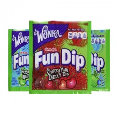 WONKA FUN DIP ( 3 x 14g ) LIK-M-AID CARAMELLE MADE IN USA