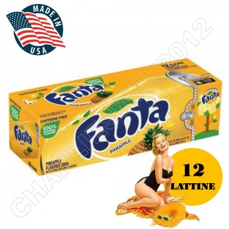 12 LATTINE FANTA PINAPPLE ANANAS 355ML MADE IN USA PER FRIGO FRIDGE PACK